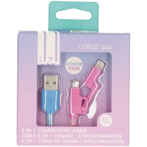 USB to Micro/Lightning Cable Blue/Pink