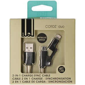USB to Micro/Lightning Cable- Gold/Black